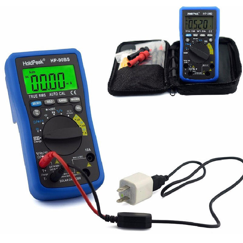 professional digital multimeter,auto range select,True RMS, solar charge and USB charge.HP-90B/BS