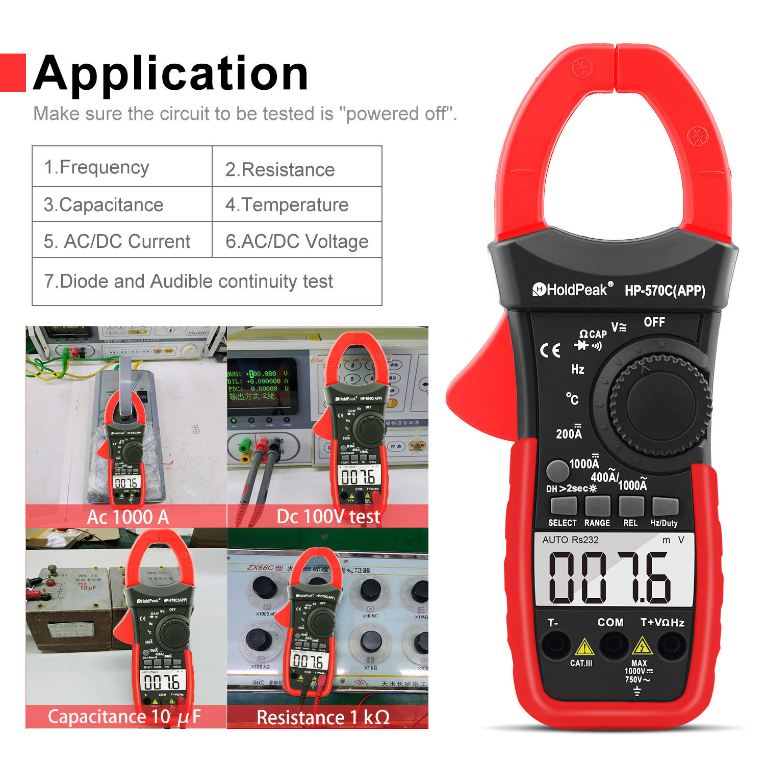 digital clamp multimeter power clamp meter digital clamp meter HP-570C-APP