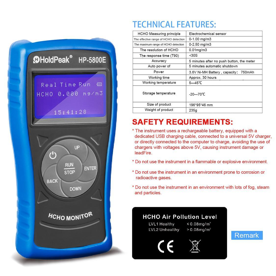 HoldPeak High-quality formaldehyde detector Supply for office