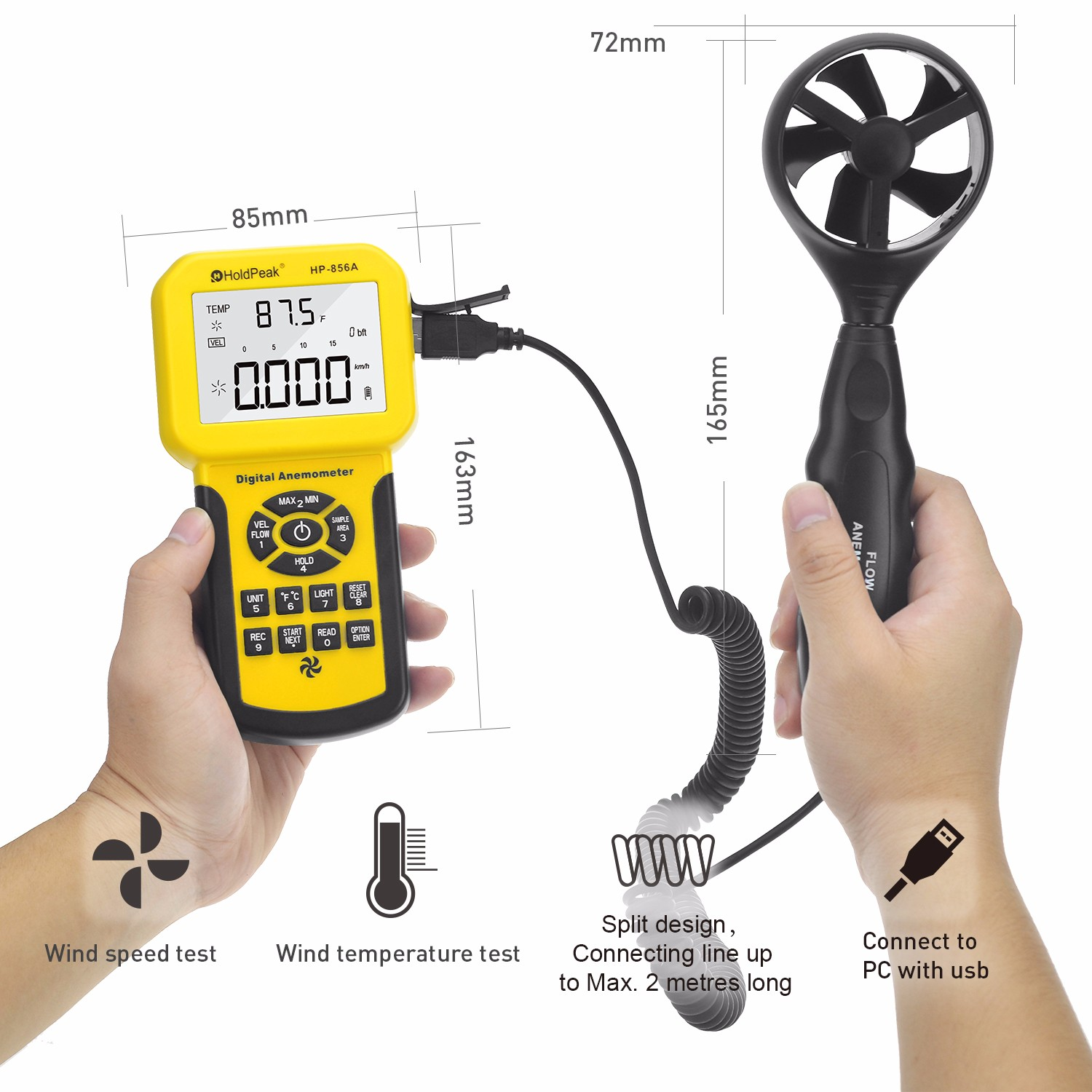 HoldPeak hp866b low flow anemometer for business for manufacturing-2