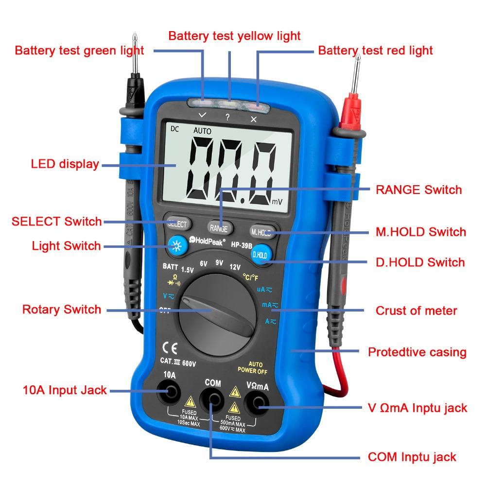 product-HoldPeak-auto range multimeterresistancediode test,continuity buzzer,data hold,HP-39B-img