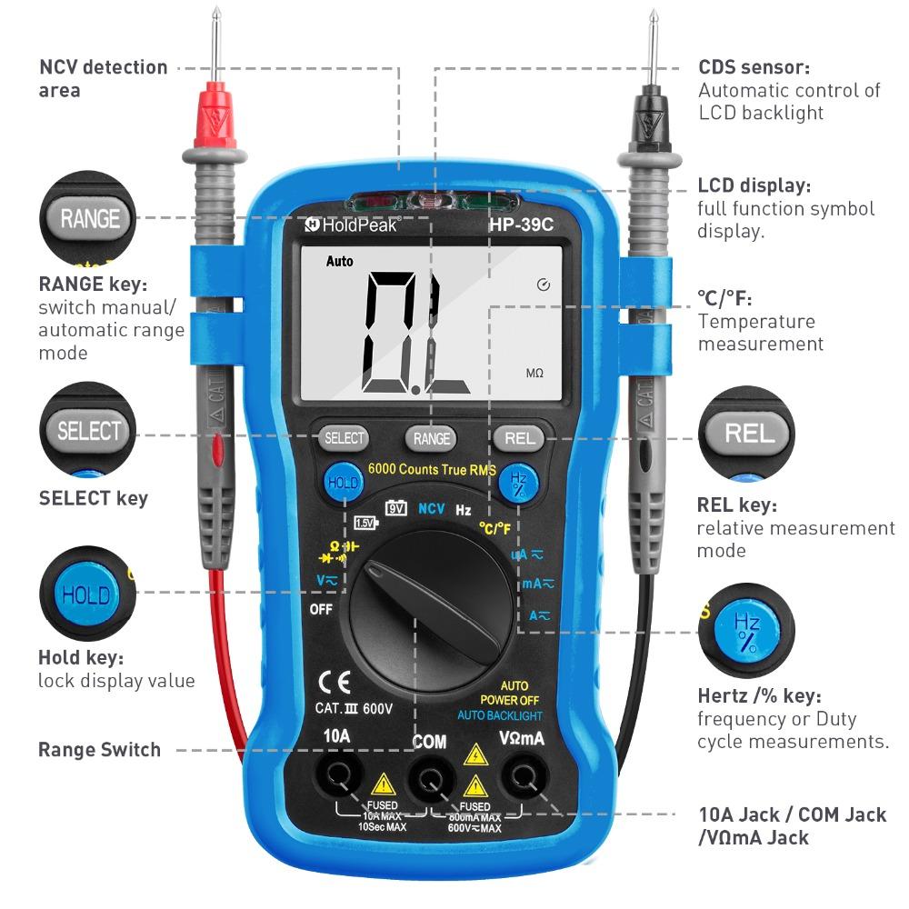 product-Auto-Varying Digital Multimeter, perfect DIY hand tool,HP-39C-HoldPeak-img