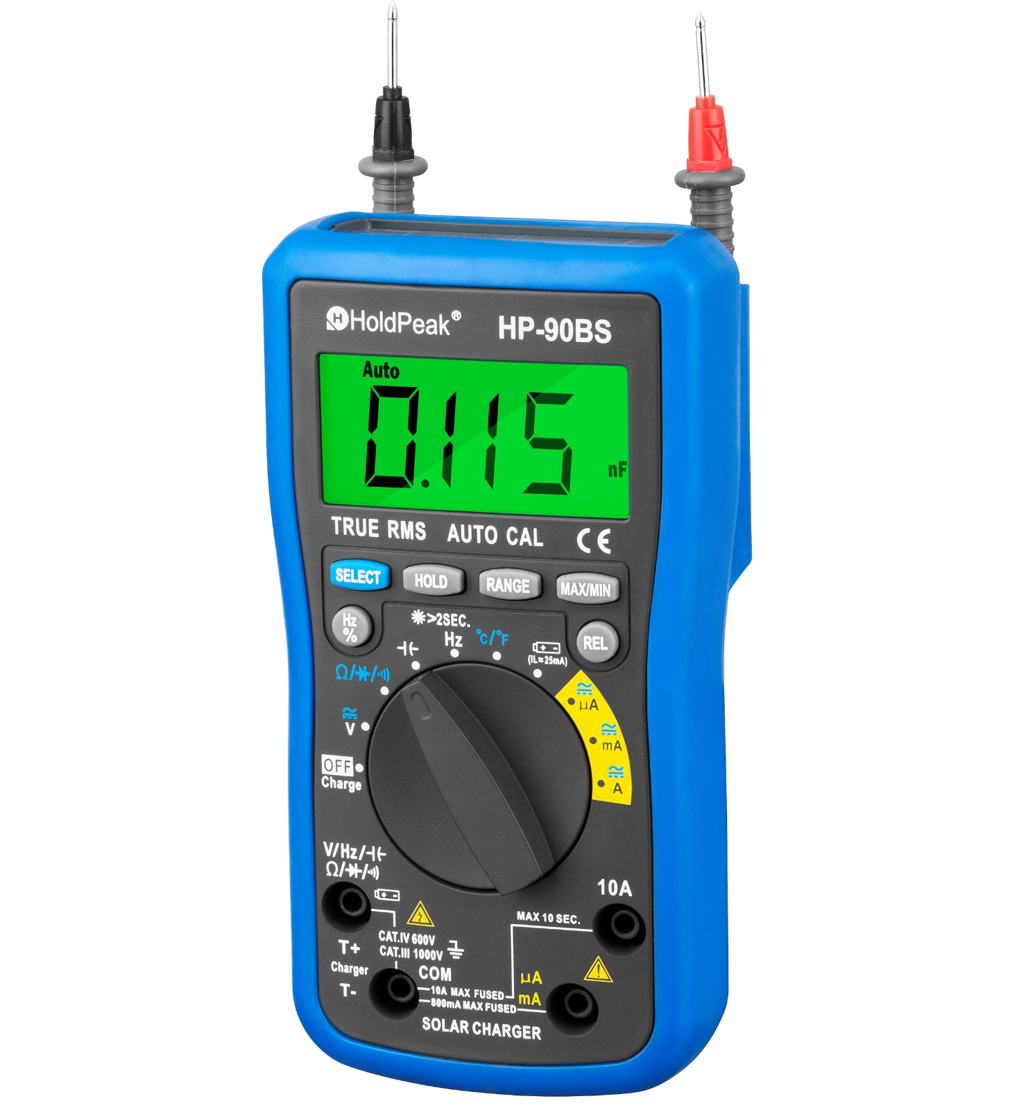 product-HoldPeak-professional digital multimeter,auto range select,True RMS, solar charge and USB ch
