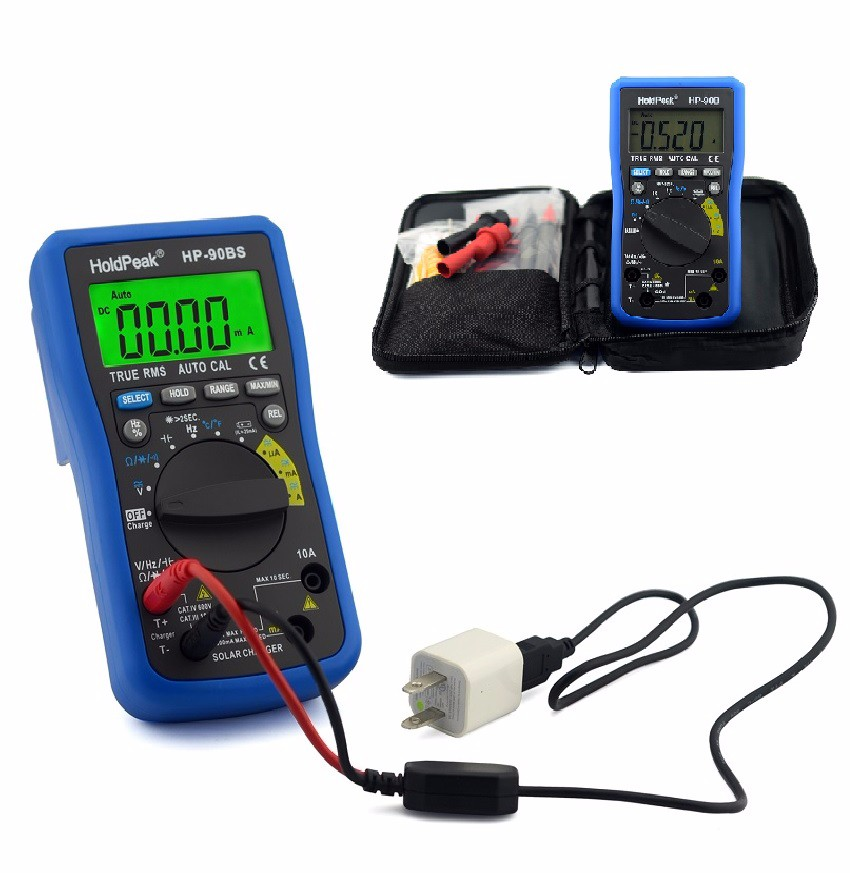 product-professional digital multimeter,auto range select,True RMS, solar charge and USB chargeHP-90