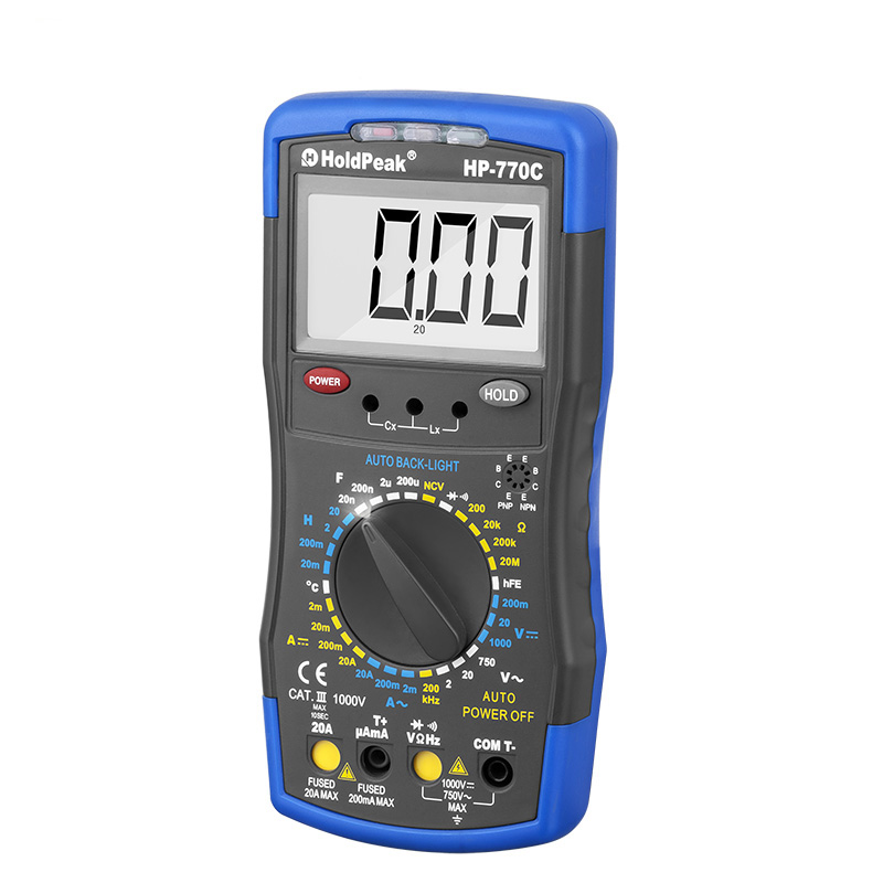 product-manual range select digital multimeter,6000 counts digit LCD monitor,HP-770C-HoldPeak-img