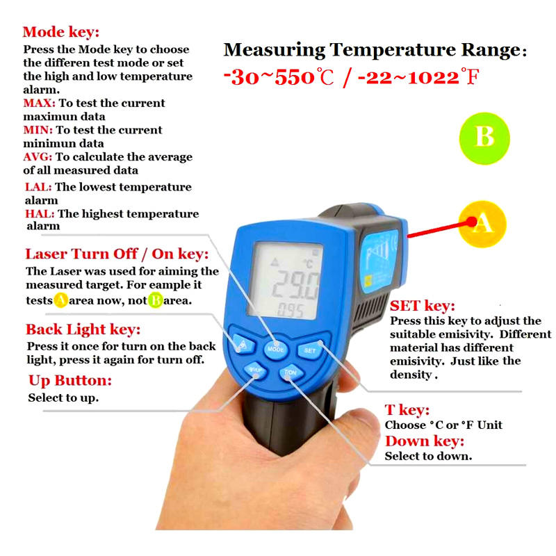HoldPeak non contact infrared thermometer handheld for fire