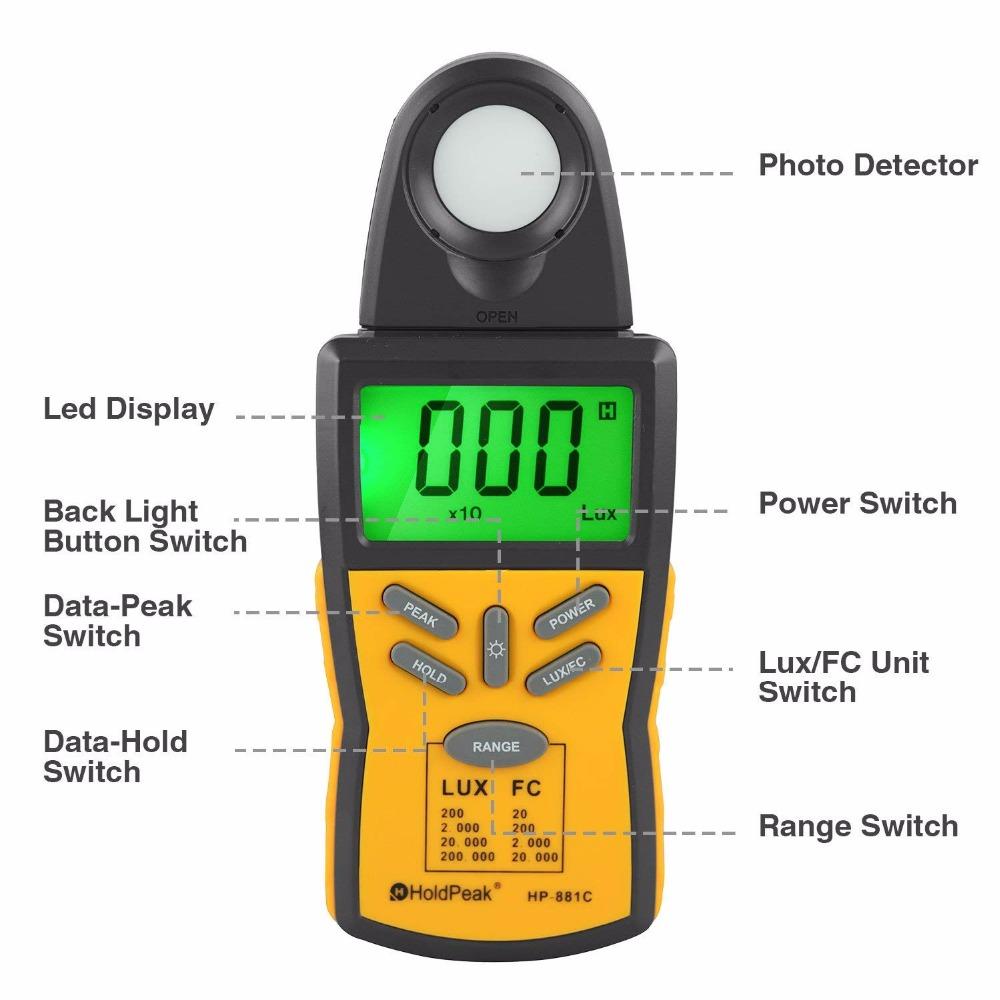 product-HoldPeak-LED light meter, lux measurement,HP-881C-img