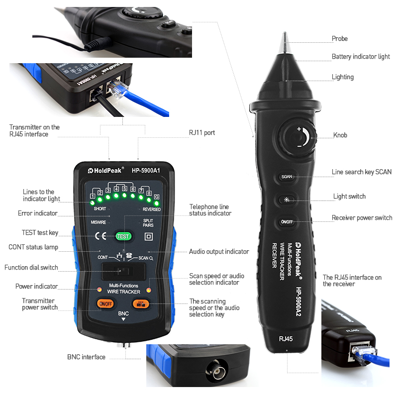 product-HoldPeak-Wire Tracker cable tester, multifunctional cable tester HP-5900A-img