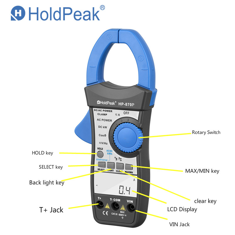 product-digital power clamp meter, handheld aptitude meter HP-870P-HoldPeak-img
