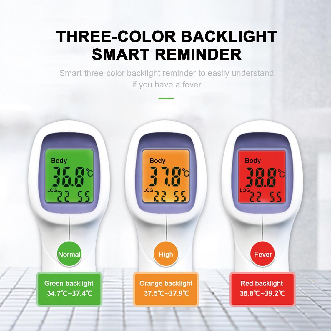 Digital Infrared Thermometer Forehead Temporal for Adults Touchless Non-Contact Portable Body Basal with LCD Display Head Human Led Instant Read for Kids Baby, Adult, Surface of Objects