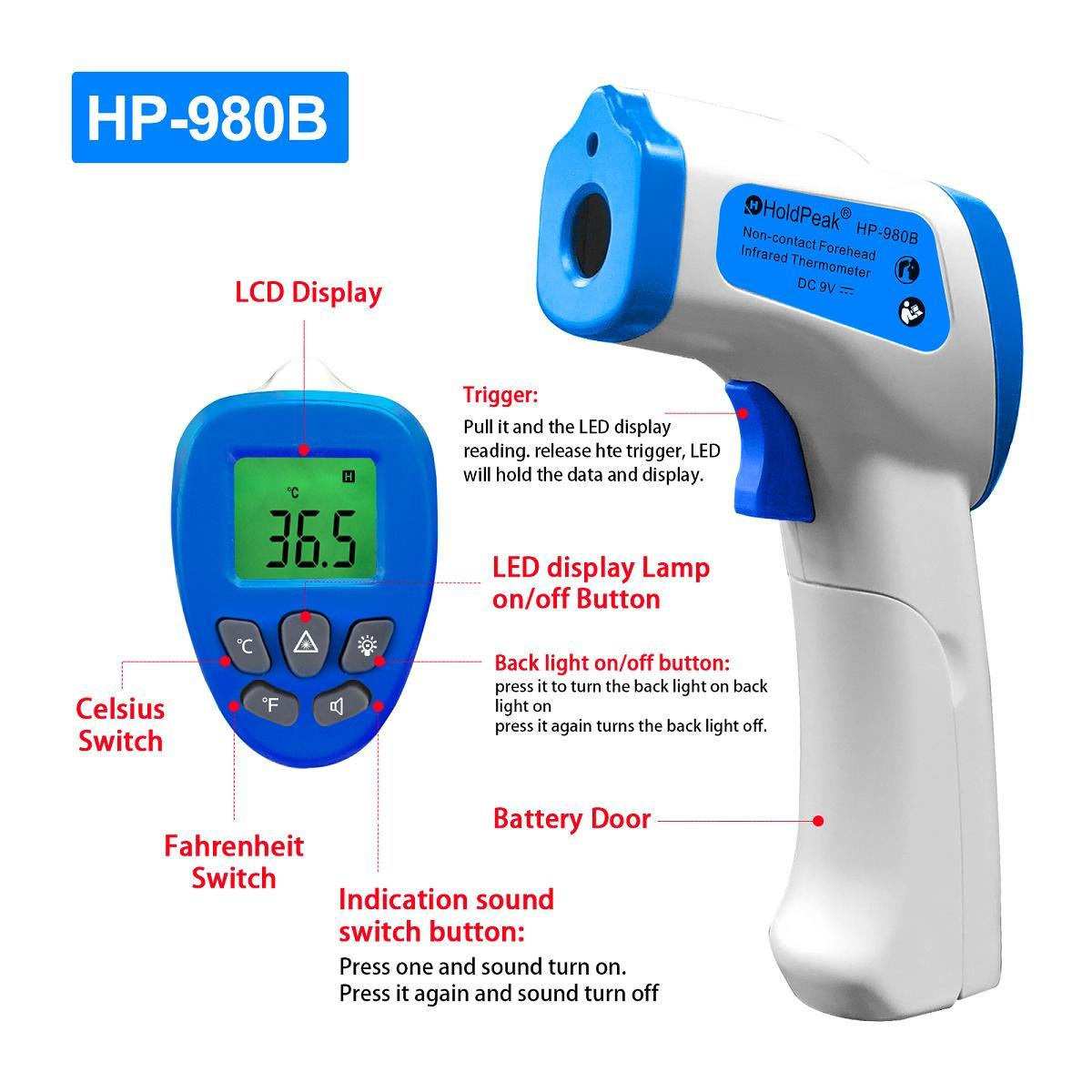 HoldPeak Top digital infrared laser thermometer Supply for industrial production