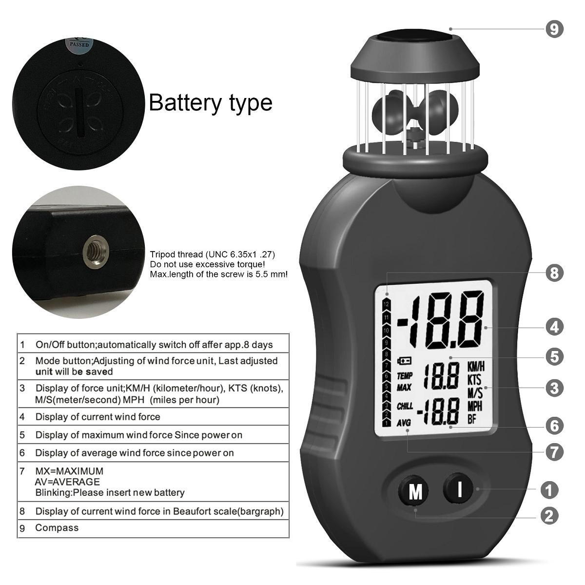 HOLDPEAK HP-876 Intelligent wind cup type wind speed tester digital anemometer multi function thermometer