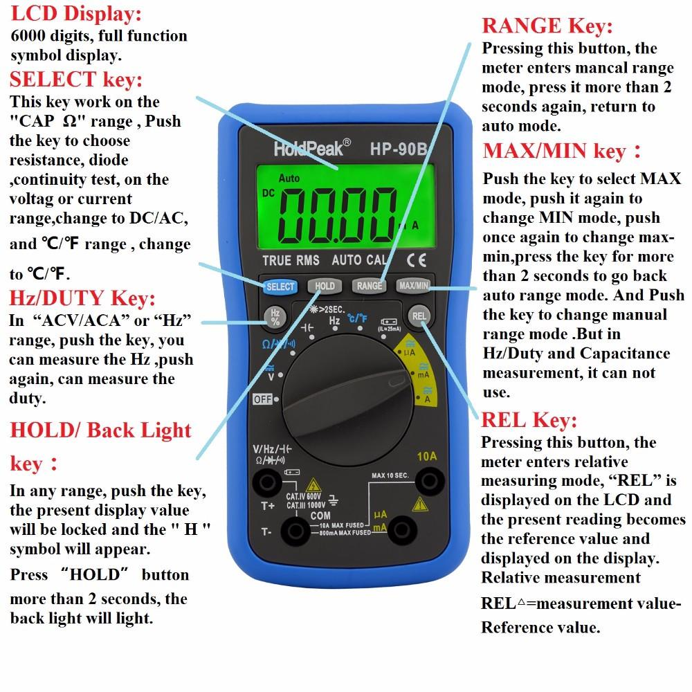 HoldPeak frequency digital multimeter for electronics Supply for measurements-1