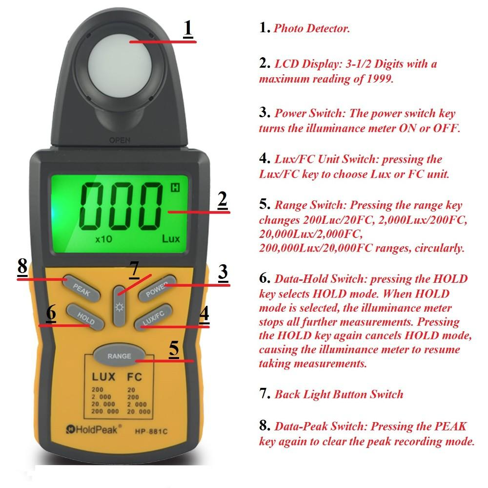 easy to use digital light meter lux free design for physical-2