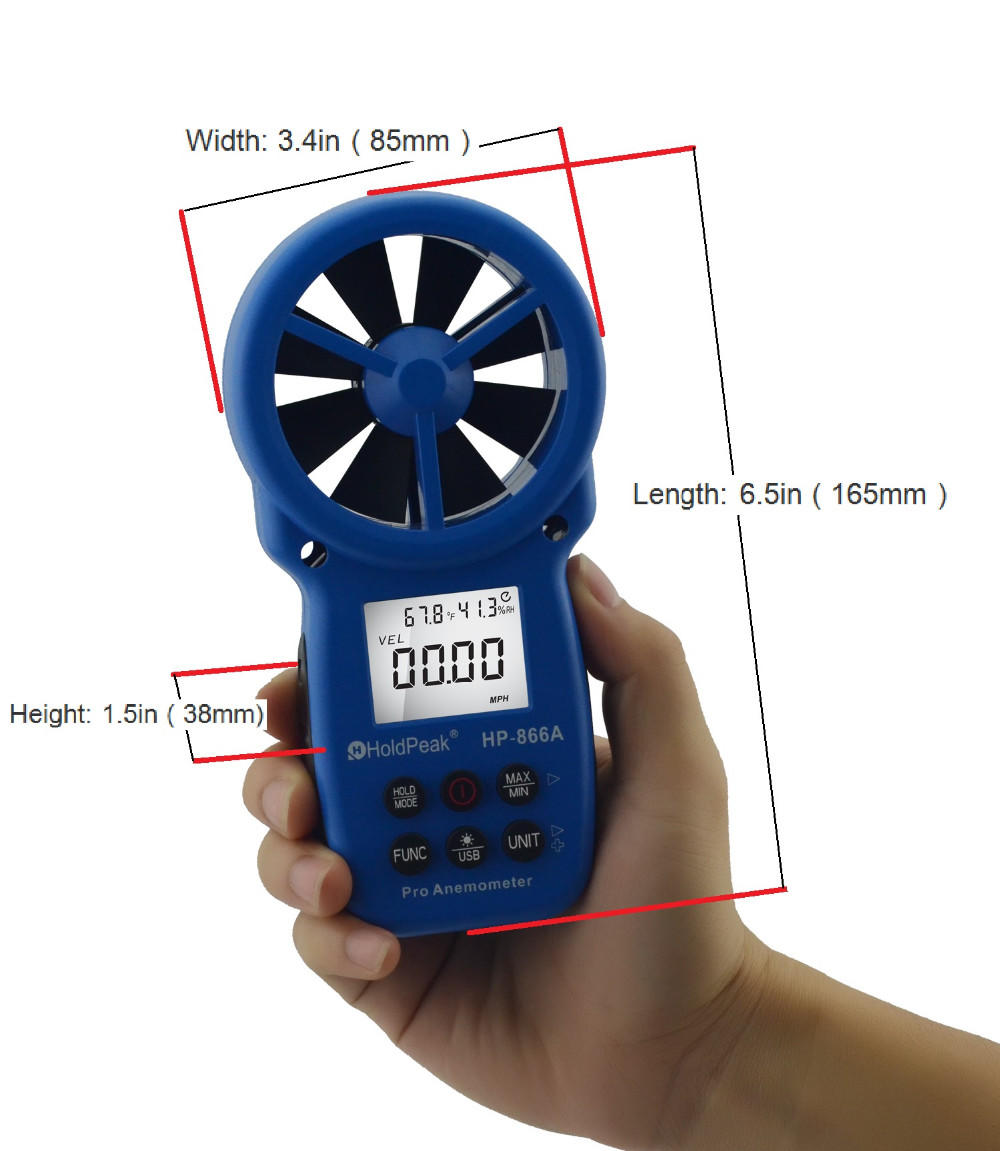 HoldPeak portable handheld anemometer in china for tower crane-2