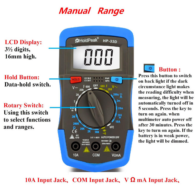 HoldPeak portable multimeter test supplier for electrical