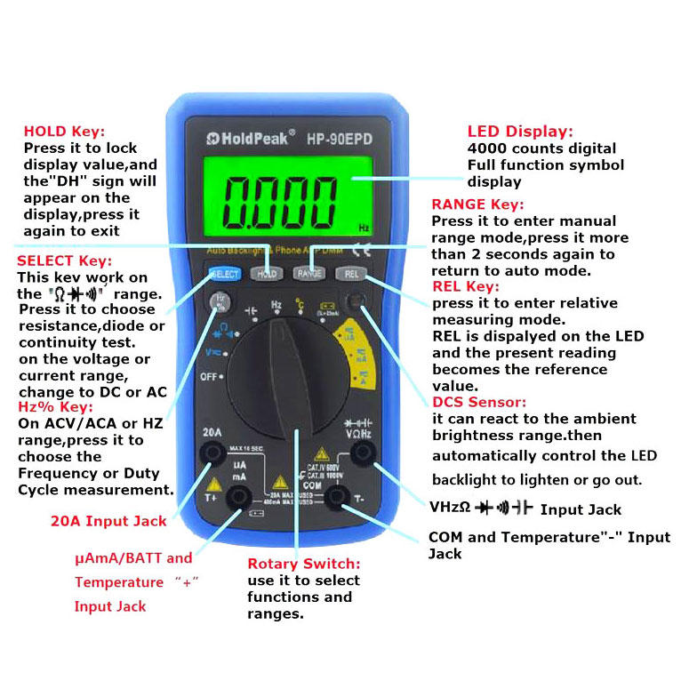 HoldPeak mobile temperature humidity time display meter for business for environmental testing