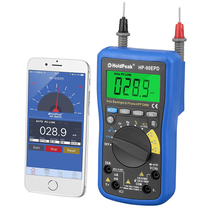 HoldPeak mobile temperature humidity time display meter for business for environmental testing-3